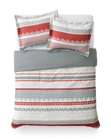 mainstays red stripe duvet cover set