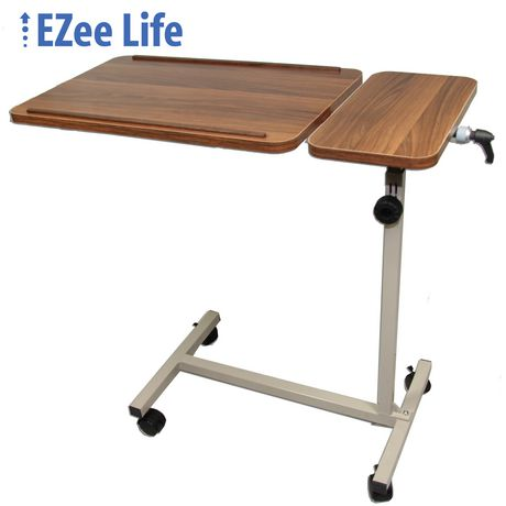 Ezee life tilting patient overbed table for Lit table de nuit integree