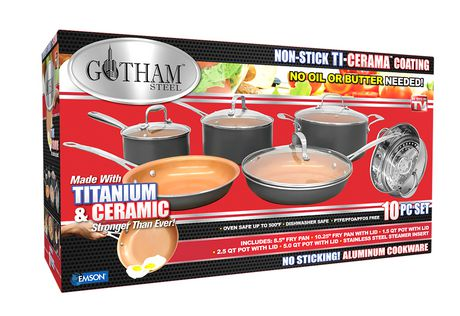 Gotham Steel 10-Piece Kitchen Nonstick Frying Pan And Cookware Set Brown