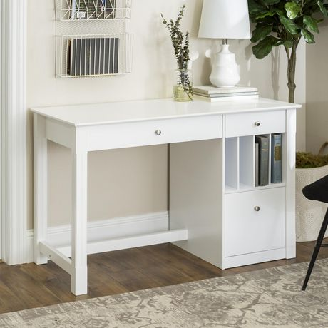 Manor Park Modern Simple Wood Computer Desk - White