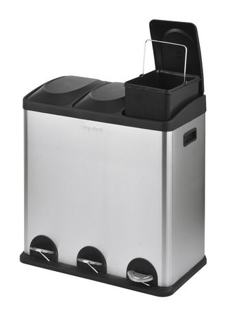 The Point Gallery Step N' Sort 60 Litre 3-Compartment Trash and Recycling Bin - image 2 of 9
