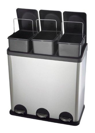 The Point Gallery Step N' Sort 60 Litre 3-Compartment Trash and Recycling Bin - image 7 of 9