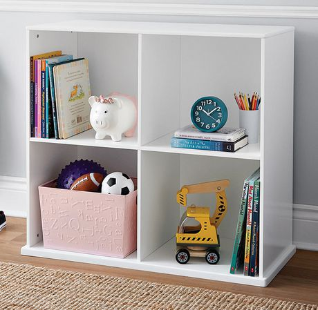Mainstays Kids Stackable 4 Cubby Storage Shelf