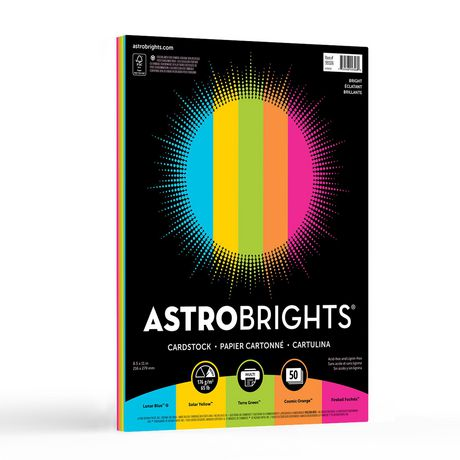 Papier cartonné coloré Astrobrights, assortiment «Éclatant» de 5 couleurs - image 1 de 4