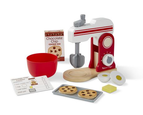 Red and white wooden baking mixer stand set with tools and imitation food from Melissa & Doug