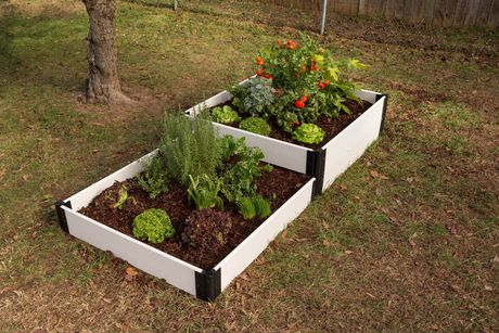 Classic White Raised Garden Bed Terraced 4 X 8 X 16