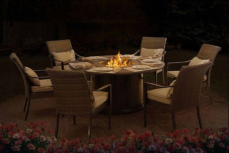 Sunjoy Dining Set With Lp Fire Table Patio Furniture