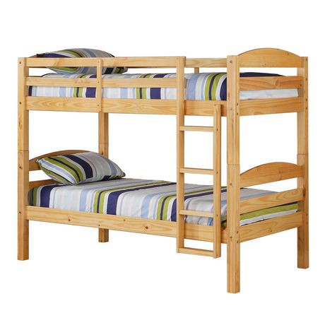 Walker Edison Natural Twin Solid Wood Bunk Bed Walmart