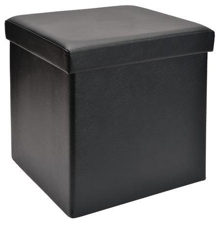 cube de rangement pliable red label en similicuir noir walmart canada. Black Bedroom Furniture Sets. Home Design Ideas