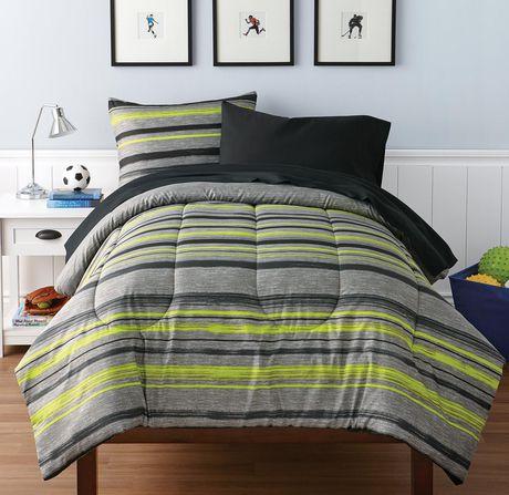 Mainstays Kids Stripe Melange Bed In A Bag Bedding Set
