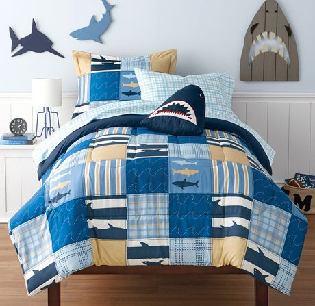 mainstays kids shark bed in a bag bedding set walmart canada. Black Bedroom Furniture Sets. Home Design Ideas