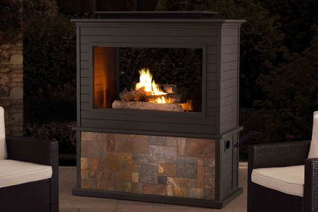 Sunjoy Napa Slate and Steel 63inch LP Fireplace Heating - image 1 of 9
