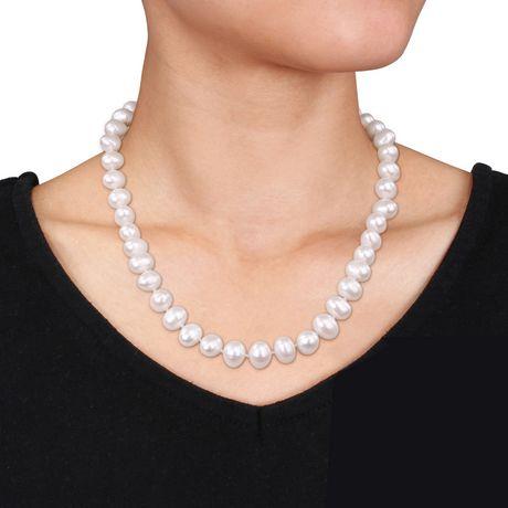 Miabella Ensemble de collier et boucles d'oreilles avec perles d'eau douce blanches de culture, 18 pouces en longueur - image 2 de 3