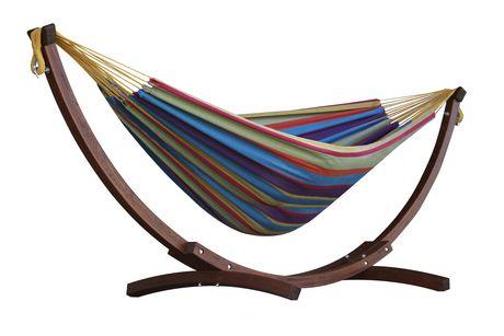 Hamac en coton Tropical de Vivere Double avec support en arc en pin massif de 8 pi - image 1 de 2