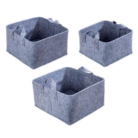 Truu Design, Paniers de rangement carrés en feutre, ensemble de 3 - image 2 de 7
