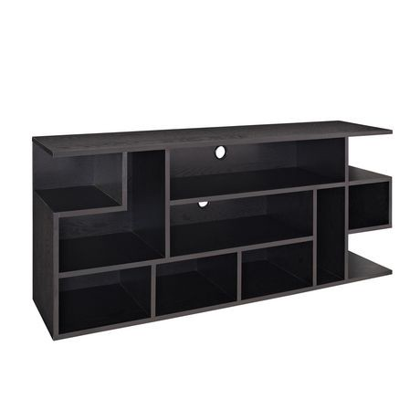 Meuble pour t l viseur en bois noir de we furniture 60 po for Meuble pour televiseur