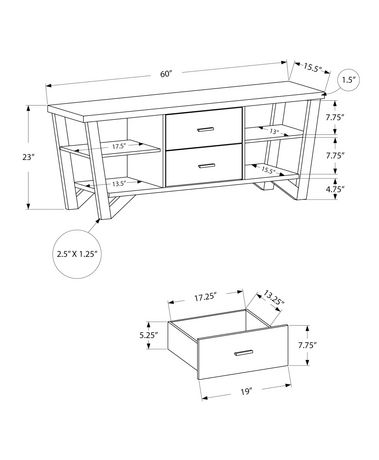 Monarch Specialties Grey TV Stand - image 3 of 3