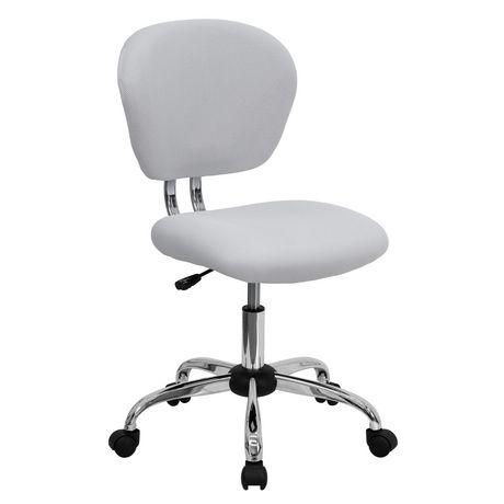 Chaise De Travail Pivotante Blanche Flash Furniture Dossier Mi Dos En Filet Avec Base Chrome