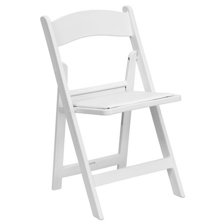 Chaise Pliante De La Collection Hercules Flash Furniture En Resine Blanche Avec Siege Rembourre Vinyle Blanc