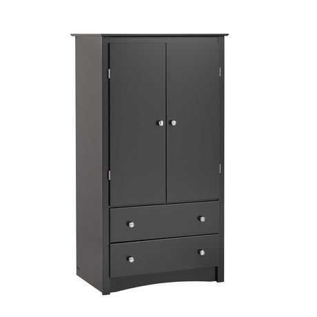 Prepac sonoma 2 door black armoire for Door 9 sonoma