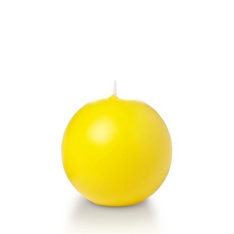 """Yummi 2.8"""" Sphere Candles - 12 - Bright Yellow - image 1 of 1"""