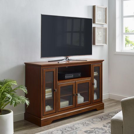 "WE Furniture 52"" Brown Wood Highboy TV Stand - image 1 of 8"