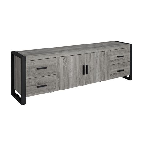 meuble pour t l viseur en bois gris de we furniture 70 po 177 80 cm. Black Bedroom Furniture Sets. Home Design Ideas