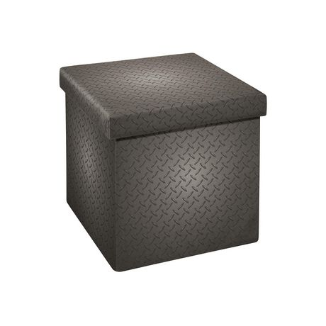 15 Inch Collapsible Storage Ottoman Grey Metal - image 1 of 3
