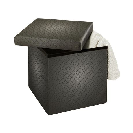 15 Inch Collapsible Storage Ottoman Grey Metal - image 3 of 3