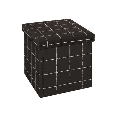 15 Inch Collapsible Storage Ottoman Black White - image 1 of 3