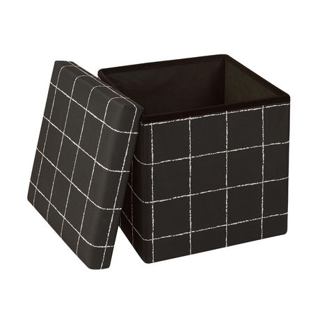 15 Inch Collapsible Storage Ottoman Black White - image 2 of 3