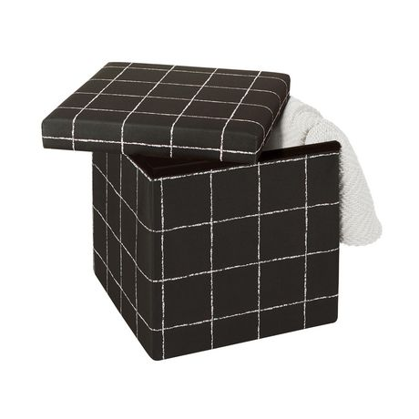 15 Inch Collapsible Storage Ottoman Black White - image 3 of 3