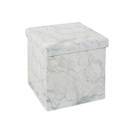 low priced de75f 81cf1 15 Inch Collapsible Storage Ottoman Marble