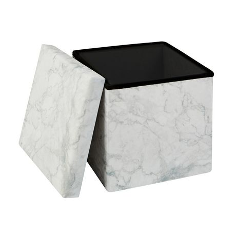15 Inch Collapsible Storage Ottoman Marble - image 2 of 3