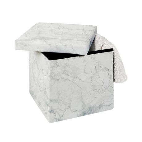 15 Inch Collapsible Storage Ottoman Marble - image 3 of 3