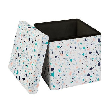 15 Inch Collapsible Storage Ottoman Terrazzo - image 2 of 3
