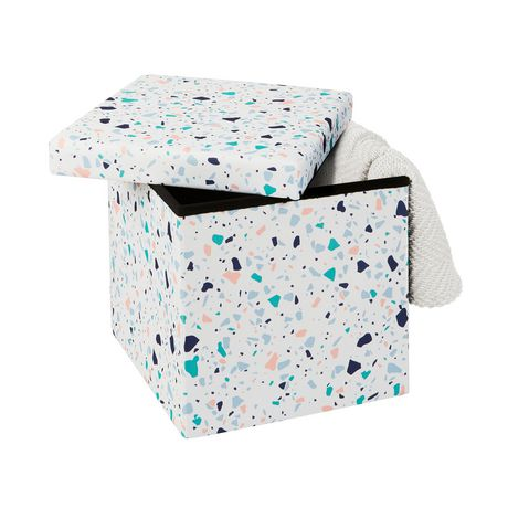 15 Inch Collapsible Storage Ottoman Terrazzo - image 3 of 3