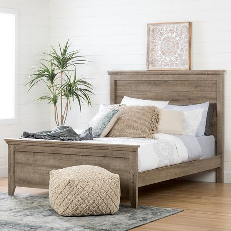 South Shore Lionel Queen Bed Set Inch Weathered Oak - Weathered oak bedroom furniture