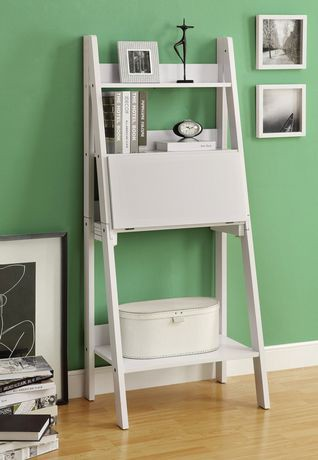 Monarch Specialties Inc Monarch White 61 Quot H Ladder Bookcase With A Drop Down Desk Walmart Canada