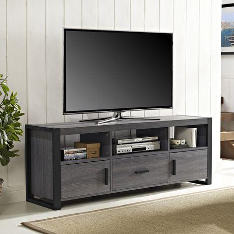 Walker edison meuble tv apartment ah city grove noir et for Meuble tv canada