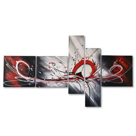 design art rouge abstrait peinture l 39 huile sur toile 5 panneaux 66 x 36 po. Black Bedroom Furniture Sets. Home Design Ideas