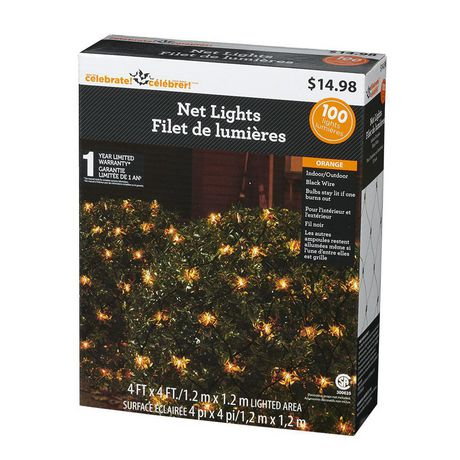 Way to celebrate! 4' x 4' 100-Count Incandescent Net Halloween Lights, Orange - image 3 of 4