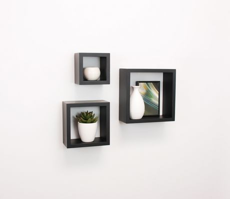 Admirable Hometrends 3 Piece Wall Cube Black Shelf Set Home Interior And Landscaping Ologienasavecom