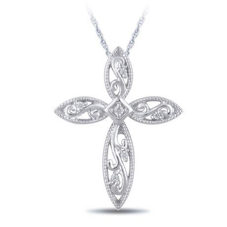 Pendentif croix diamant 0,01 carats poids total en argent sterling avec chaîne de 18 po. - image 1 de 3