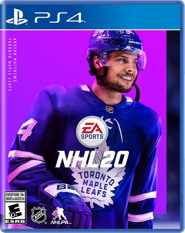 NHL 20 video game for Play Station 4 with Toronto Maple Leaf centre Auston Matthews on the cover