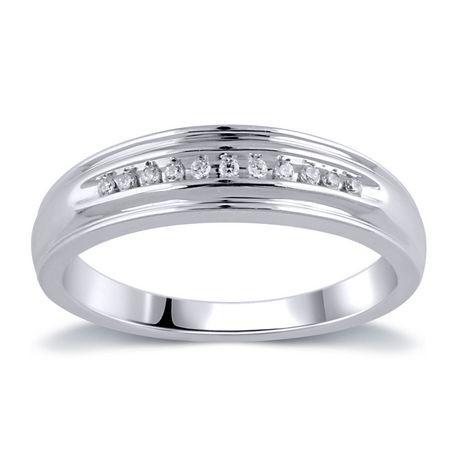 007 Ct TW Mens Wedding Band In 10K White Gold