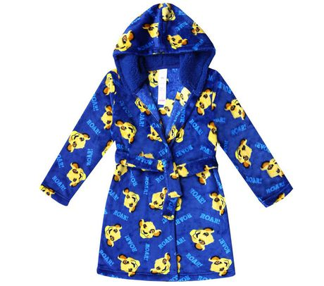 Blue bathrobe patterned with Simba faces from The Lion King