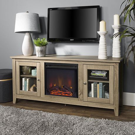 console pour m dia de t l vision de walker edison en bois flottant avec chemin e walmart canada. Black Bedroom Furniture Sets. Home Design Ideas