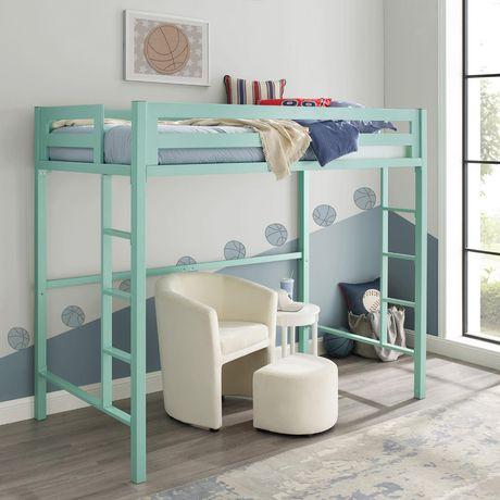 Walker Edison Premium Deluxe Twin Metal Mint Loft Bed