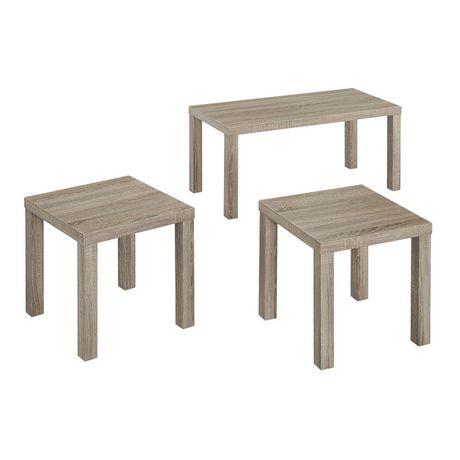 Walker Edison 3 Piece Wood Coffee Driftwood End Table Set